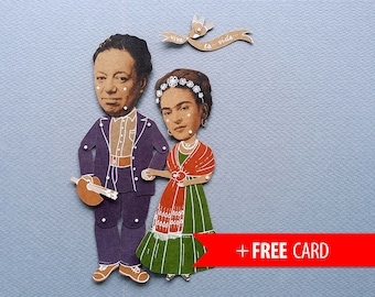 Articulated paper dolls Frida Kahlo Diego Rivera puppets handmade greeting card mexican artists portrait mexico marionette munecos de papel