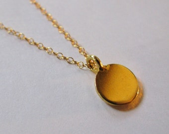 Easy like Sunday Morning necklace 22K Gold vermeil tiny small disc disk medallion circle karma coin pendant necklace chain charm pendant