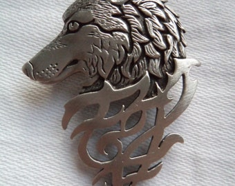 Vintage Signed JJ  Silver pewter Tribal Wolf Brooch/Pin