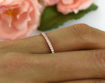 Delicate Half Eternity Wedding Band, Bridal Ring, 1.5mm Stacking Ring, Round Man Made Diamond Simulants, Sterling Silver, Rose Gold Plated