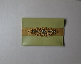 Green leather pouch gold and strass