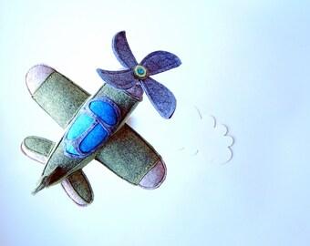 Pattern PDF Airplane. Aviate plane sculpture. Felt toy aeroplane. Home airplane decor for man and boy nursery. Soft toy pattern jpg