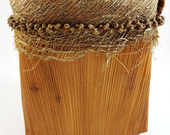 Interesting Hand Made Basket Dried Wood Vintage