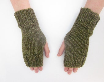 Hand Knit Fingerless Mittens/Texting Gloves-Joshua Tree-Green  Wrist Warmers