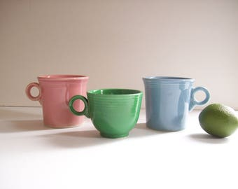 Set of Three Vintage Fiesta Mugs, Cups, Pink Blue Green, Vintage Dishware, Instant Collection