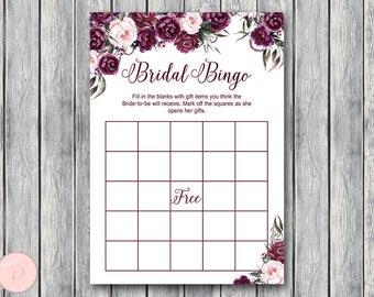 Marsala Floral Bridal Shower Bingo Cards, Printable Bridal Bingo, Gift Item Bingo, Burgundy Bridal shower game activity, Printable Game TH86