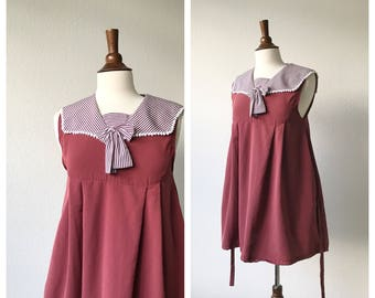 VALENTINE's DAY- Vintage wine burgundy babydoll dress with collar with pockets size xs to M