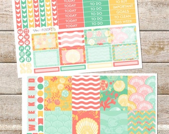 SUMMER SEASHELLS MINI Weekly Sticker Kit Perfect for Erin Condren Life Planner