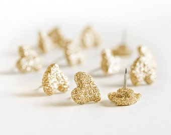 Heart Push Pins Gold Glitter Wedding Modern Home Office Cork Board Design. Perfect Gift for Wife,Sister, Teachers, Event Planners.Set of 12
