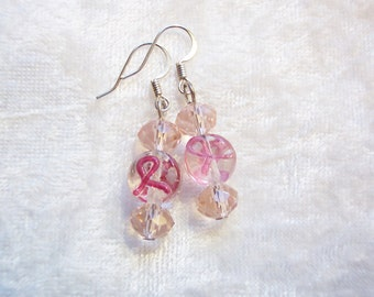 Pink Earrings, Pink Ribbon Cancer Awareness Earrings, Lampwork Glass Earrings, Pink Crystals, Fight Cancer, Support Cancer Cure