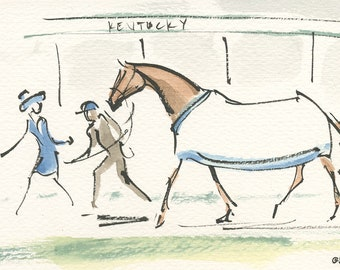 """Race Horse Painting, Equestrian Art, Original Watercolor by Anna Noelle Rockwell, """"Pep Talk at the Derby"""""""