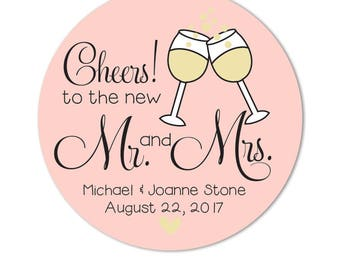 Wedding Toast Stickers, Champagne Toast Favors, Personalized Wedding Favors, peach color, Cheers Mr and Mrs