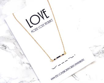 LOVE morse code necklace, valentines day gift, BFF gift, sister gift, morse code jewelry, dainty delicate necklace, minimalist bar necklace