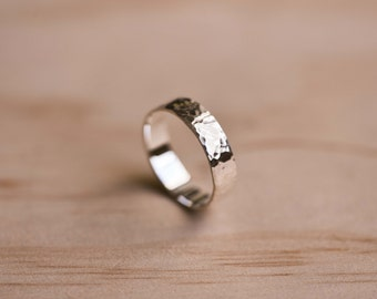 Hammered Sterling Silver Ring - 100% Recycled Sterling Silver