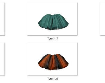 Tutu 1 Overlays Pack 4 Same Tutu 5 different colors Bold Bright Photoshop PNG Translucent Background