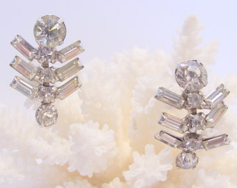 Rhinestone Dangle Screw Back Earrings Have Round and Baguette Shaped Stones Perfect for a Bride