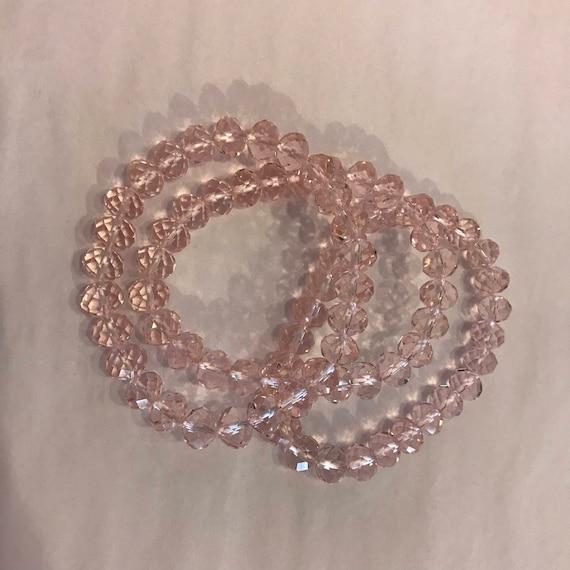Pale Rose crystal bracelets