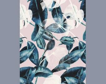Mini Poster A5 - Pink Leaves - Unique Design - SFA