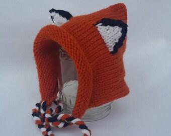 Handmade Knit Baby-fox  Hat /  Animal Hat