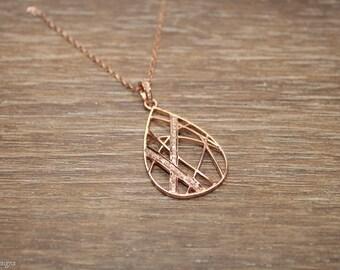 Pave Diamond Necklace, Rose Gold Filled Pendant, Abstract Diamond Necklace, Genuine Diamonds,