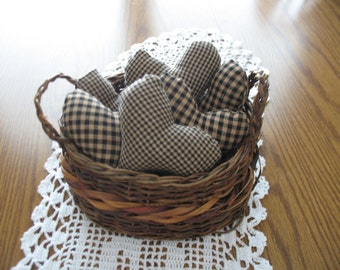 6 Homespun fabric hearts