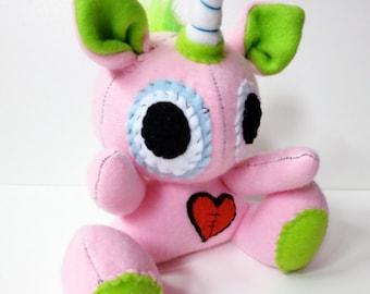 Rowdy One Horn - Mini pink plush unicorn with rainbow mohawk, stuffed unicorn plush, unicorn softie