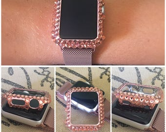 Rose Gold Apple Watch 38mm or 42mm BLING snap cover