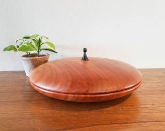 Vintage Minimalist Hand Turned Wood Bowl - Mid Century Modern Functional Art