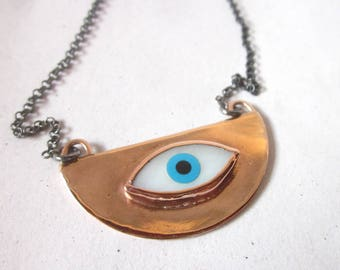 Half moon eye necklace, semi-circle eye pendant, rose gold plated copper & oxidized sterling silver chain, celestial bohemian yoga jewelry