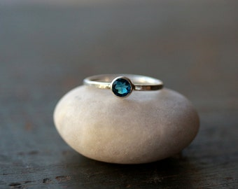 London Blue Topaz Ring, Gemstone Solitaire Ring, Sterling Silver Band, Rich Color Ring, Ring For Her, Faceted Gemstone, Handmade Sparkle