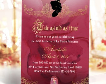 Princess Belle Beauty and the Beast Birthday Invitation Printable DIY