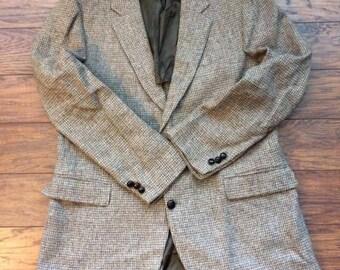 Vintage Retro Stafford Harris Tweed Wool Two Button Brown Sport Coat Suit Jacket Blazer 44R
