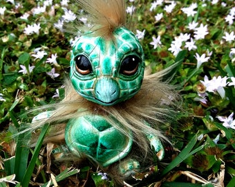 OOAK Squirtle Fantasy Creature  ( Mint colored  ) Custom Squirrel and Turtle inspired Soft body Aty Doll