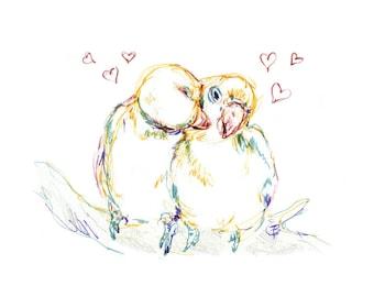 Love Birds - fine art print Illustration
