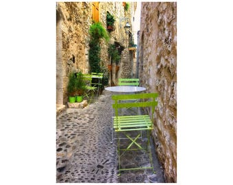 Romantic French Village, Lime Green Chairs, France Photography, South of France, Outdoor Café