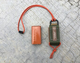 "Small Survival Neck Carry Pouch & Tin ""2 Tone"" USA"