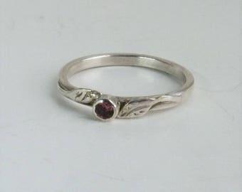 Pink Tourmaline Ring, Sterling Silver Leaf Ring.