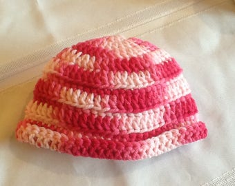 Crocheted baby beanie hat, variegated pink