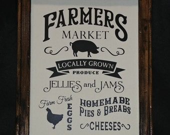 Farmer's Market Framed Canvas