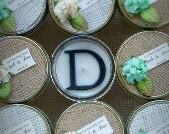Seafoam Wedding / 20 4oz soy candles / initial / burlap wedding favors / salty kisses / seafoam and sand /personalized wedding favors