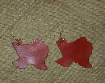 Hand crafted Texas shaped leather earrings