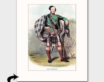 "MacPherson Family Art Print w/Mat (Clan Chief Art Gift, Scottish Dress, Flintlock Pistol) Matted Scotland Art --- ""Clan MacPherson"" No. 162"