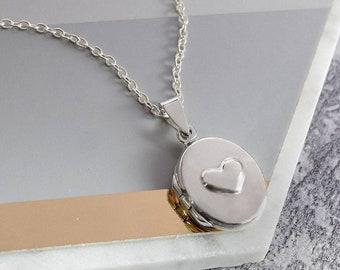 Sterling Silver Oval Embossed Heart Locket