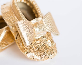 Gold Sequin Baby Moccasins/ Leather Moccasins/ Baby Shoes Girl/ Toddler Moccasins/ Kids Moccasins/ Newborn Moccasins/ Baby Gift/ Mocs