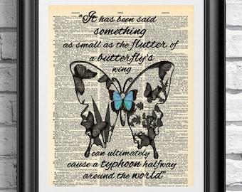 Original art print on antique dictionary book page. Wall hangings blue butterfly quotation on vintage book page. Wall decor inspirational.