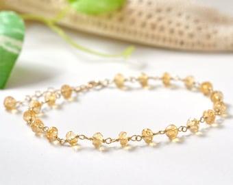 14K Gold Citrine Bracelet, 14K gold bracelet, Citrine Gold Bracelet, November Birthstone Jewelry, Yellow Stone Jewelry,