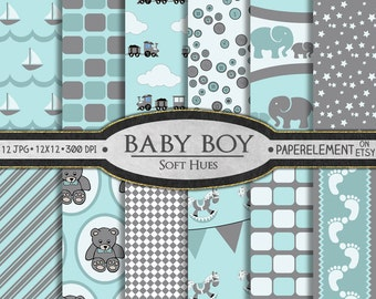 Baby Boy Scrapbook Paper: Baby Boy Digital Paper in Soft Hues - Baby Scrapbook Paper Background with Elephants & Trains for Baby Showers
