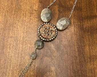 Antique Brass Filagree and Steel Cut Button Necklace with Labradorite