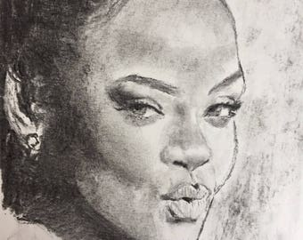 Rihanna portrait, charcoal on paper 24x32cm 2017