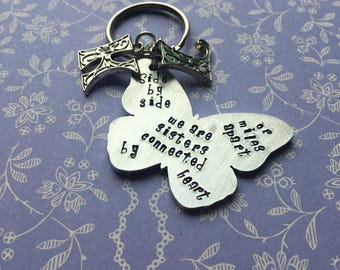 Sister quote keyring, side by side quote,  gift for special sister, personslised sister gift,